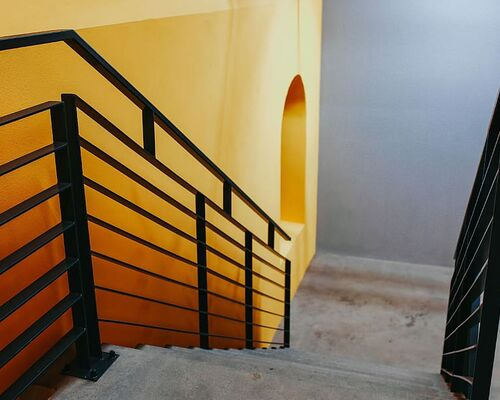 yellow-wall-staircase-stairway